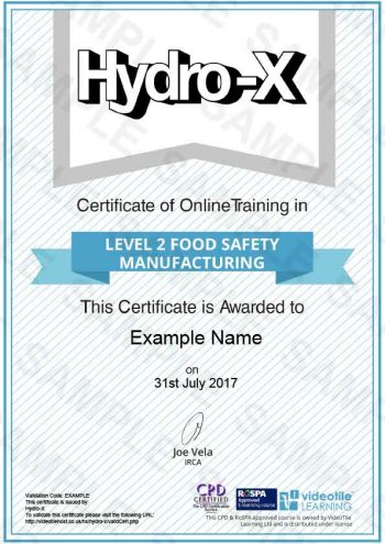 Level-2-Food-Safety-Manufacturing cert