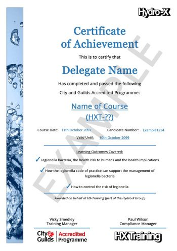 City and Guilds Legionella Training Awareness Certificate