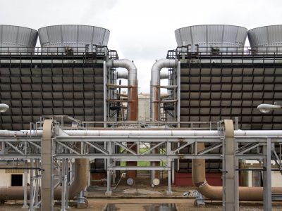 Cooling tower water treatment with pipes